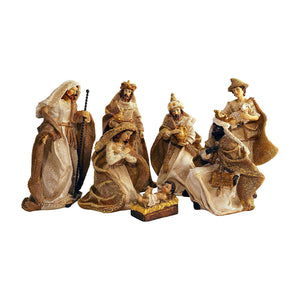 Gold Metallic Glittered Burlap Christmas Nativity Scene, Set of 7 Rearrangeable Figures