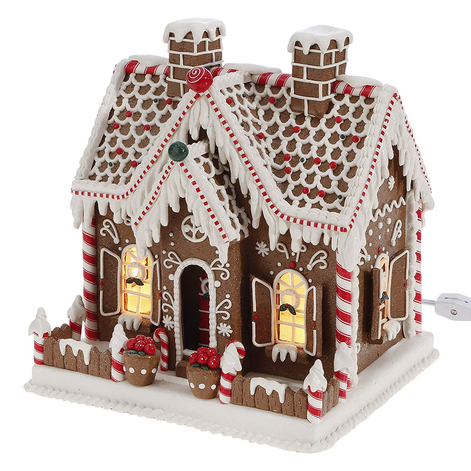 11 Inch Lighted Gingerbread House Holiday Decoration Tabletop