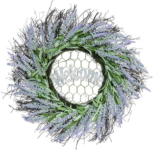 22-Inch Rustic Lavender Twig Wreath Welcome Sign – Front Door Wreath Spring Decoration