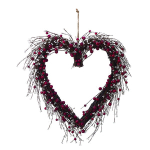 Large Red and White Berry Heart-Shaped Wreath Valentines Wall Decoration