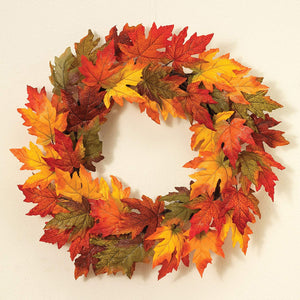 24 Inch Gold Glitter Maple Leaf Wreath Fall Decoration