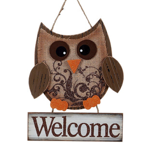 Autumn Owl Wood and Burlap Rustic Wall Hanging Welcome Sign - 2 variants