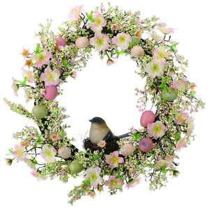 Beautiful Floral Spring Wreath with Eggs and Bird in Nest Wall Decoration