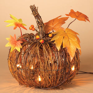 Lighted Twig Pumpkin with Maple Leaves - Harvest Fall Decoration
