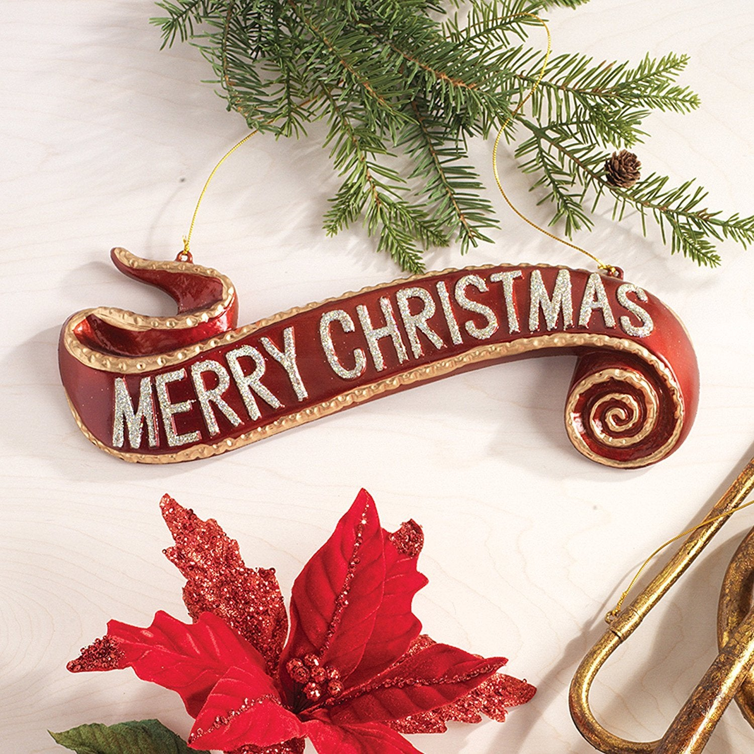 large red and gold merry christmas scroll banner tree ornament 7 inch one holiday way large red and gold merry christmas scroll banner tree ornament 7 inch x 15 5 inch