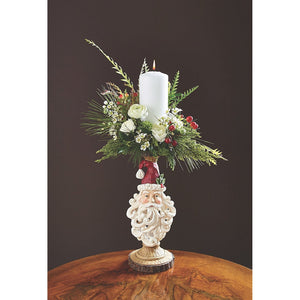 Carved Wooden Candle Holder with Traditional Santa Head Christmas Decoration