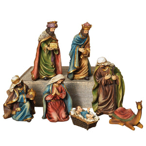 Old World Style Traditional Christmas Nativity Set, 7-Piece Holiday Decoration