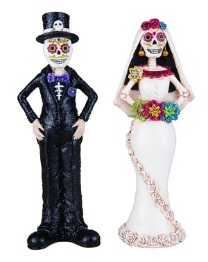 Standing Skeleton Day of the Dead Bride and Groom Couple Colorful Halloween Decoration
