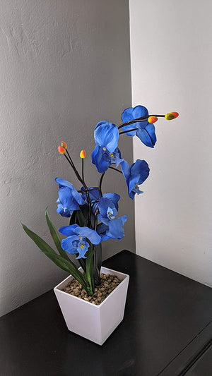 17-Inch Lighted Blue Artificial Orchid Flower Plant with Timer - Battery Operated with 9 Lights