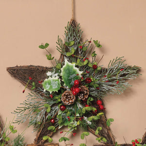 Rustic Twig Star Wreath with Christmas Greenery and Berries for Front Door - Hanging Holiday Decoration