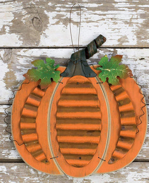 Rustic Wood and Metal Harvest Pumpkin Hanging Autumn Decoration with Metal Leaves and Stem