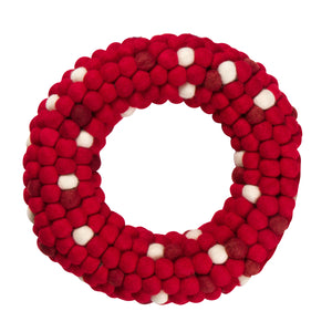 Orchid & Ivy 13.5-Inch Red and White Wool Felt Ball Pom Pom Wreath - Christmas Wreath Holiday Decoration