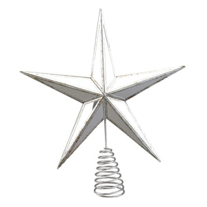 Antique Gold or Silver Mirrored Star Christmas Tree Topper - Tree Ornament Holiday Decoration