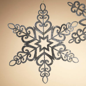 18 Inch Silver Metal Snowflake Christmas Ornament - Hanging Holiday Decoration