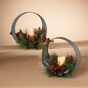 Assorted Set of 2 Oval Metal Table-Top Candle Holder with Floral Accents
