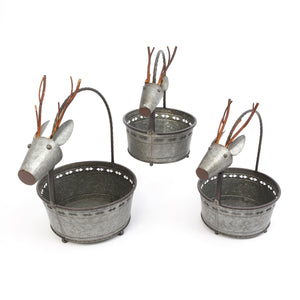 Assorted Set of 3 Nesting Galvanized Metal Deer Figure Containers with Handles