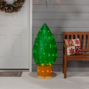 42-inch Tall, Green, Lighted Christmas Bulb Decoration with Snowflake Accents