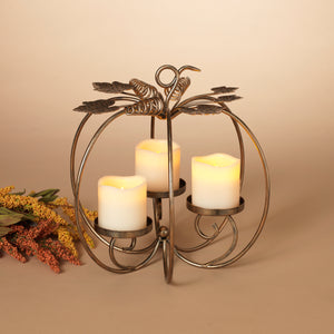 13-Inch High Metal Harvest Pumpkin Candle Holder