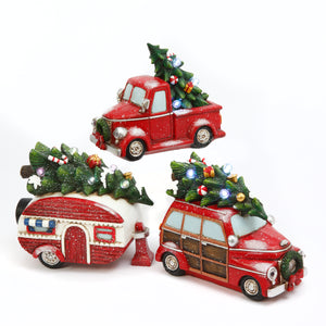 Assorted Set of 3 Battery-Operated Resin Holiday Vehicles with Timer Feature