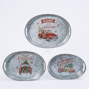 Assorted Set of 3 Galvanized Metal Nesting Holiday Trays
