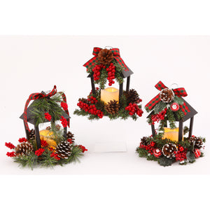Assorted Set of 3 Battery-Operated Plastic and Metal Holiday Lanterns
