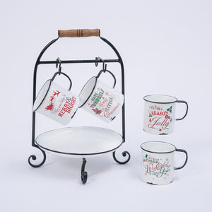 11.6-Inch Long Metal Holiday Serving Rack with Tray and Mugs