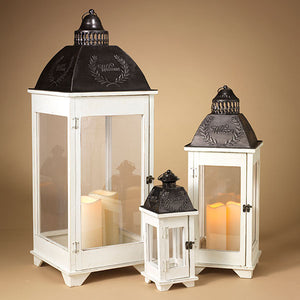 Set of 3 Metal and Wood Nesting Lanterns with Plexiglass Panes