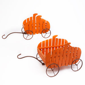 Set of 2 Assorted Wood Nesting Pumpkin Wagons