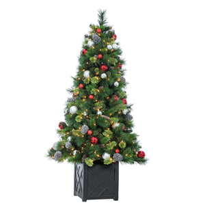 6-Foot High Mixed Needle Decorated Pre-Lit Akron Spruce Tree with Warm White Lights in a Square Base
