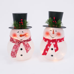 Assorted Set of 2 13.75-Inch High Electric Frosted Glass Snowman Lights with Metal Top Hat
