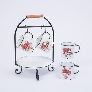 "11.6-Inch Long Metal ""Hot Cocoa"" Holiday Serving Rack with Tray and Mugs"