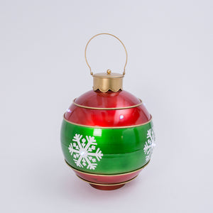 19.8-Inch Diameter Electric Metal Jumbo Red and Green Snowflake Ornament