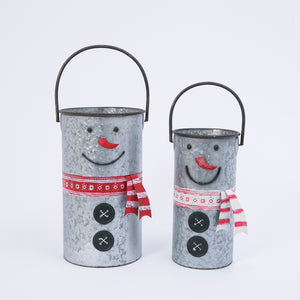 Assorted Set of 2 Nesting Metal Snowman Buckets