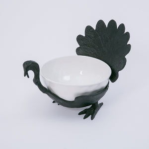 14.7-Inch Long Cast Iron Turkey with Ceramic Serving Bowl