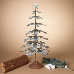 33-Inch High Galvanized Metal Tabletop Evergreen Tree with Star Topper Accent