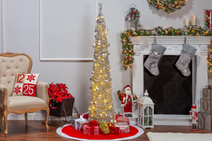 6-Foot High Pop Up Pre-Lit Decorated Narrow Silver Tinsel Tree with Warm White Lights