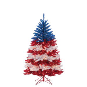 5Ft. Patriotic American Tree in Red, White and Blue with 495 Clear Lights and 5 Twinkle Lights on Top Section