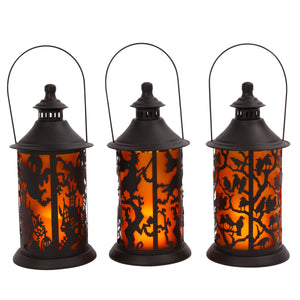 Assorted Set of 3 Battery-Operated Metal Halloween Themed Lanterns with LED Candle
