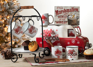 18-Inch Long Metal Hot Cocoa Truck with 4 Ceramic Mugs