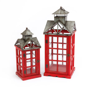 Assorted Set of 2 Nesting Wood and Metal Red Lanterns