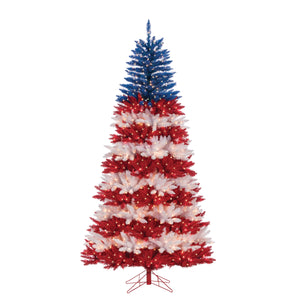 7.5Ft. Patriotic America Tree in Red, White and Blue with 1040 Clear Lights and 10 Twinke Lights on Top Section