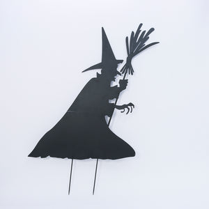 78-Inch High Metal Halloween Witch Silhouette Yard Stake with Broom