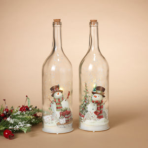 Assorted Set of 2 Battery-Operated Snowman Glass Bottle with Snow Blowing Feature