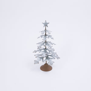 23-Inch High Galvanized Metal Tabletop Evergreen Tree with Star Topper Accent