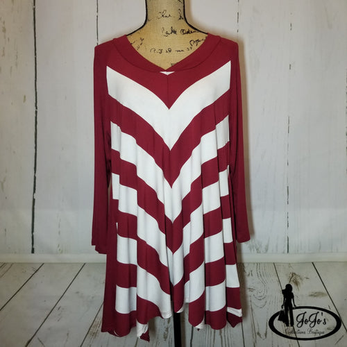 Wine and Ivory Chevron Top Plus