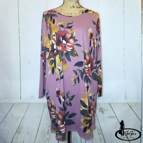 Lavender Floral Swing Dress Plus