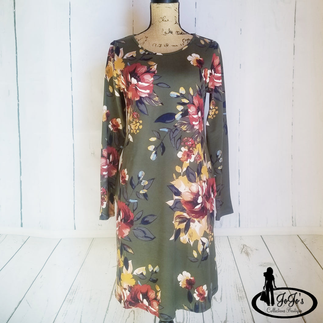 Olive Floral Swing Dress Plus