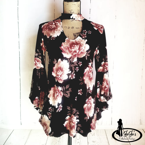 Bell Sleeve Mock Floral Top