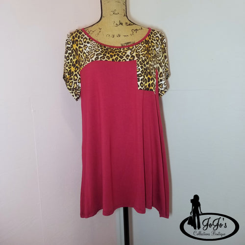Leopard Print Pocket Top Plus