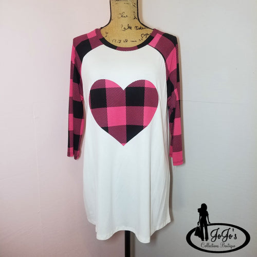 Plaid Heart Raglan Top Plus